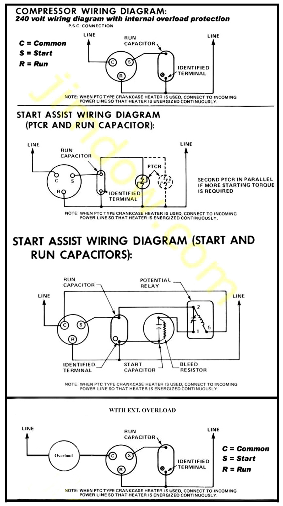 Compressor Wiring Diagram Capacitor Wiring Diagram Schematics